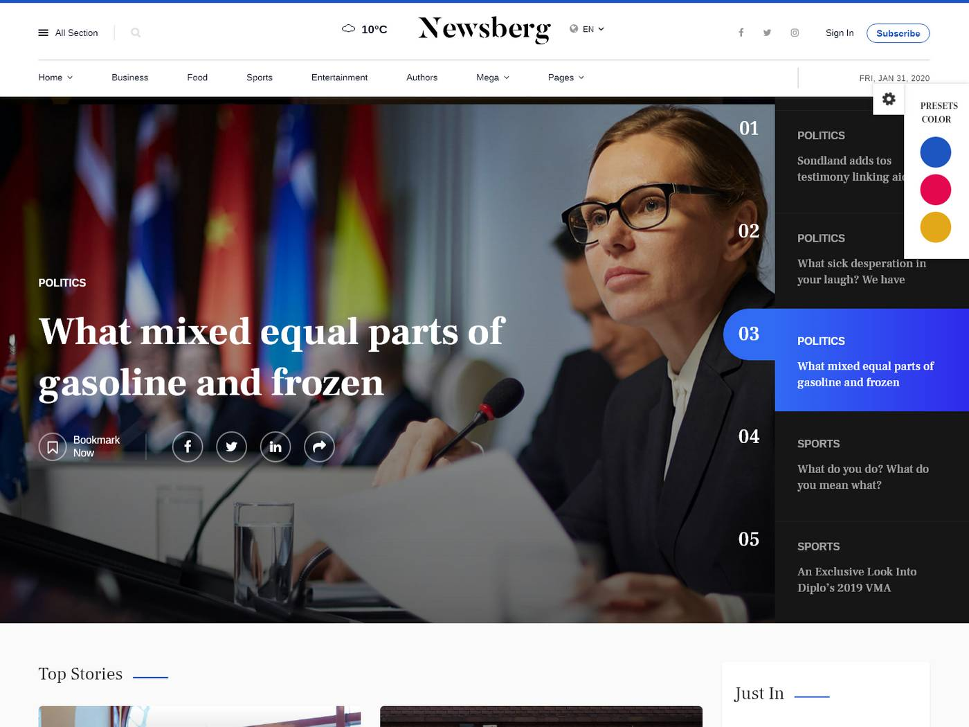 Newsberg screenshot